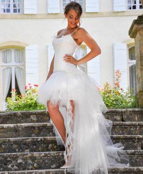 robe de mariée transformable en robe courte pour le soir NOUGAT collection Les Mariées de Provence 2018.