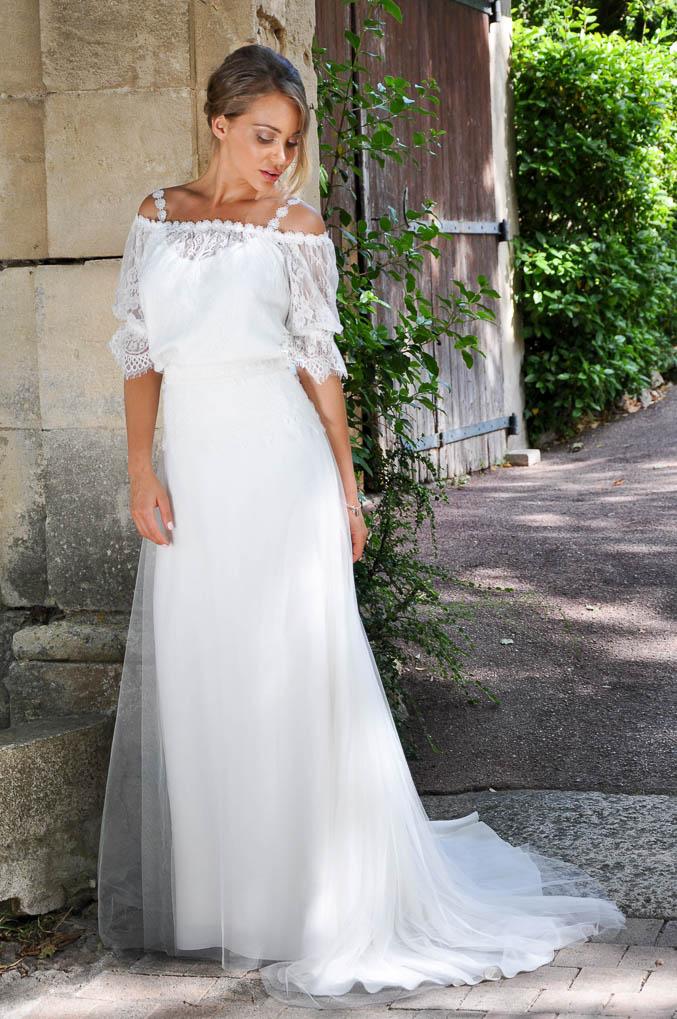 PECHE COCO robe de mariée bohème fluide en dentelle