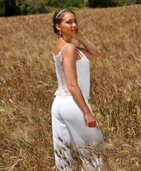 robe de mariée bohème pantalon et top en dentelle PRALINE