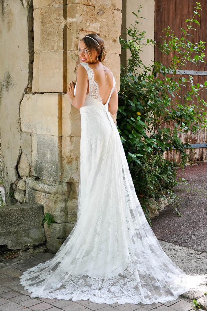 robe de mariée bohème en dentelle de Calais