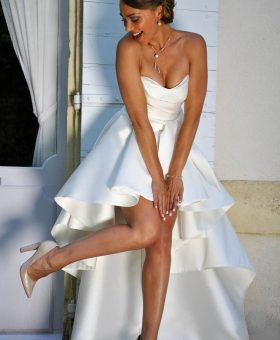 robe de mariée courte devant en mikado de soie satin - CHOUPETTE