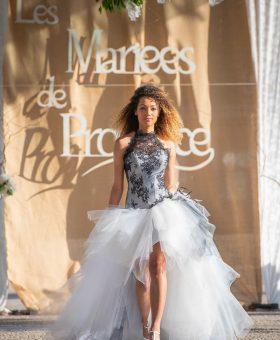 MELISSE robe de mariée jupe 2 en 1 en dentelle noire