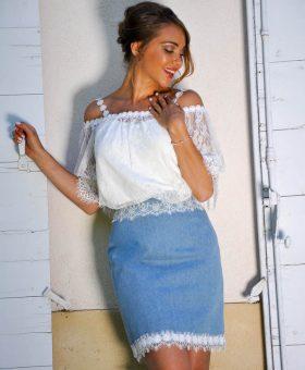 robe de mariée en jeans version jupe PECHE MIGNON